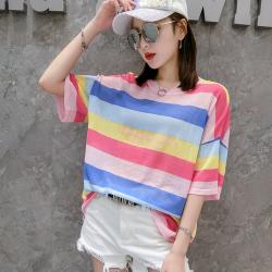 6871# 2020夏装薄宽松大版t恤短袖条纹印花圆领针织衫女潮针织衫