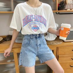 牛仔短裤女2020年夏季薄款高腰5分宽松港味直筒显瘦五分阔腿中裤 8389
