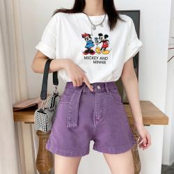 阔腿牛仔短裤女夏宽松2020年夏季新款超高腰显瘦a字米白色裤潮ins 8393