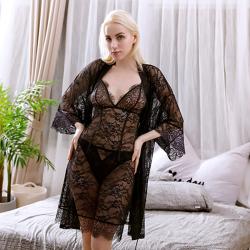 LAFRONTERA 夏季新款性感透视蕾丝长袍配吊带裙丁字裤三件套7805+2804