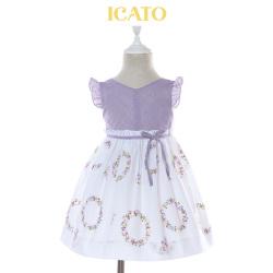 伊卡通 夏季新款时尚俏皮活泼可爱女童中式印花连衣裙公主裙 821350