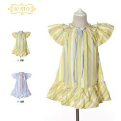 伊卡通 夏季新款时尚俏皮活泼可爱女童中式短袖竖条纹公主裙连衣裙 921202