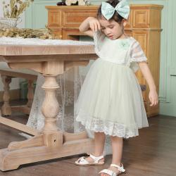 伊卡通 夏季新款时尚气质可爱女童中式网纱裙蛋糕裙公主裙 021099#