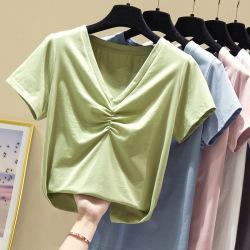 7093#主推款2020夏装新款纯色V领抽皱宽松上衣纯棉短袖t恤女