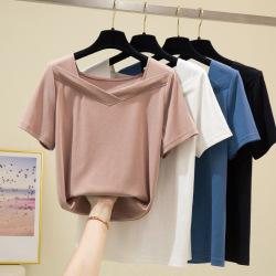 松雨7144#2020夏装简约韩版休闲纯色V领显瘦高弹短袖女士T恤上衣
