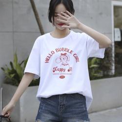 短袖t恤女2020夏新款卡通印花宽松体恤ins内搭上衣