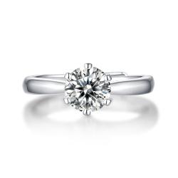 珺章 莫桑钻戒指925银饰品经典六爪戒指-WLCR0016