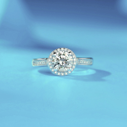 珺章克拉莫桑石戒指圆包戒指925银LCR0019