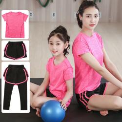女童運動套裝中大童夏季舞蹈服健身短袖速干衣兒童羽毛球服三件套親子裝