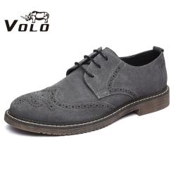 VOLO犀牛男鞋 雕花皮鞋系带皮鞋男布洛克休闲鞋英伦鞋子系带男鞋1078A031S