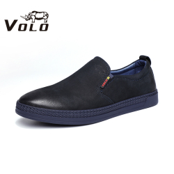 VOLO犀牛休闲皮鞋男士2020春夏季磨砂牛皮真皮套脚商务休闲鞋171203031D