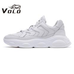 VOLO犀牛男鞋 运动休闲鞋男真皮系带闲鞋白色韩版时尚厚底潮鞋28695741D