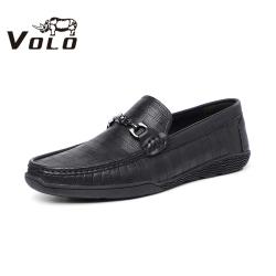 VOLO犀牛皮鞋男士豆豆鞋套脚商务休闲驾车乐福鞋一脚蹬软底懒人鞋155203041D