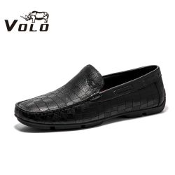VOLO犀牛男鞋2020新款套腳真皮商務男士休閑軟皮鞋樂福鞋豆豆鞋男155200391D
