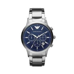 Armani阿玛尼手表飞行员三眼多功能蓝表盘钢带男腕表运动时尚AR2448