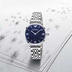 Amani阿玛尼手表蓝色星空钢带腕表浪漫雅致AR11091