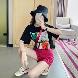 6580#清仓款 不退不换 工艺时尚潮中长款女士短袖t恤