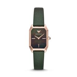 Armani阿玛尼手表复古绿贝母皮带腕表婉约时尚AR11149