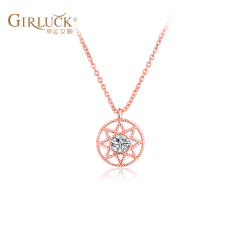 GK意大利项链女锁骨链圆牌八芒星银电镀简约气质百搭表白送礼物