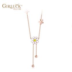 GK意大利小雏菊项链清新款锁骨链时尚气质小铃铛金链