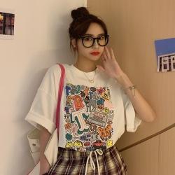 多鱼2020夏装韩版新款网红纯棉情侣装短袖T恤女上衣半袖体恤女装批发XYS-128