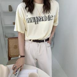 三峥个性反穿磨破做旧字母短袖T恤女2020夏季韩版休闲上衣T29746