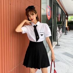 蜜朵学院风领带衬衫两件套韩版jk制服高腰百褶裙套装B1392