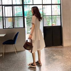 蜜朵连衣裙女2020夏新款短袖宽松韩版不规则翻领高腰裙B1087