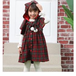 伊卡通 秋冬新款时尚气质俏皮可爱女童圣诞风连帽连衣裙