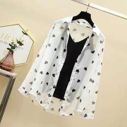 2020夏装新款大码女士时尚套装冰丝针织黑吊带+桃心印花雪纺衬衫