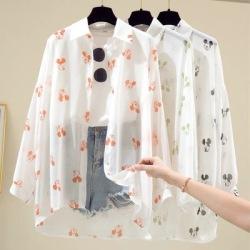 雪纺防晒衣女2020夏季长袖百搭超仙印花衬衫防紫外线透气薄款外套