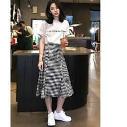 多鱼时尚两件套2020夏季新款韩版学生短袖t恤女格子半身裙套装女装LFN-356