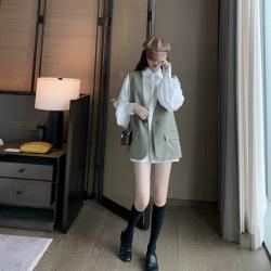 韩未2020年初秋装女炸街赫本风衬衫马甲时尚洋气减龄气质御姐两件套装11257