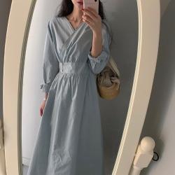 ELE2020早秋韩国设计款 一片式可调节 交叉斜扣 V领 显瘦连衣裙10531#
