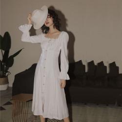 法式复古白色连衣裙2020年宫廷风设计感小礼服裙子仙女系超仙森系