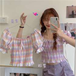2020夏装新款甜美小清新减龄格子泡泡袖衬衫女学生收腰显瘦衬衣
