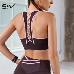 S&W 透气吸排速干超强弹性高强防震运动健身瑜伽美背内衣女 S9AW8116
