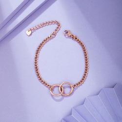 瑞芙蘭 玫瑰金色手鏈疊戴超細雙圓圈ins小眾設計韓版簡約手鏈RS024