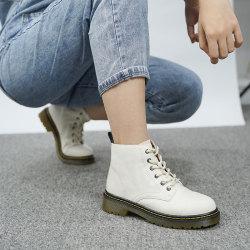 2020秋冬新款馬丁靴女靴休閑平跟真皮平底厚底系帶中短筒軍靴靴子