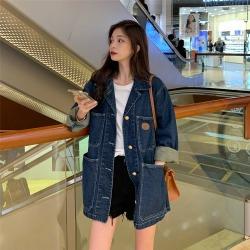 ELE实拍 秋季韩版宽松小香风设计感中长款网红气质牛仔外套女21881