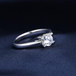 众耀珠宝 S925银经典四爪莫桑钻戒指(爪碎钻)A0025J  (5)