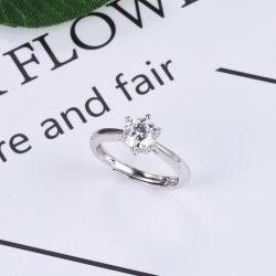 众耀珠宝 S925银经典六爪莫桑钻戒指(圆爪)A0022J  2-2(6)