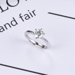 众耀珠宝 S925银经典四爪莫桑钻戒指 A0026J 6-2(6)