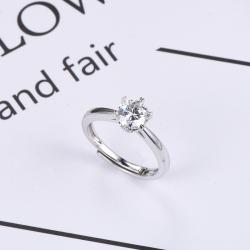 众耀珠宝 S925银经典六爪莫桑钻戒指(箭爪) A0028J(8-2(6)