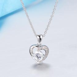 众耀珠宝  S925银心形莫桑钻吊坠 D0013z(13)