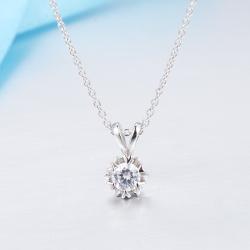 众耀珠宝 S925银锁形莫桑钻吊坠 D0013z(14)