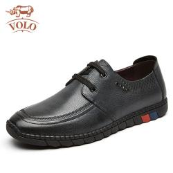 VOLO犀牛休閑皮鞋軟底休閑鞋商務英倫風輕便軟皮系帶駕車鞋皮鞋男1227C122S