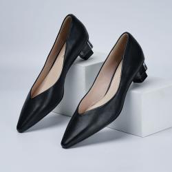舒适空乘软皮女鞋职业工作鞋黑色透明跟真皮高跟鞋低跟空姐单鞋HK20E051