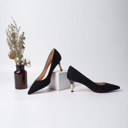 黑色高跟鞋2020秋季新款韓版工作細跟尖頭珍珠跟四季職業女單鞋HK20E061