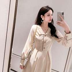 2020春秋装新款维多利亚赫本法式桔梗裙复古连衣裙高腰长裙子女装